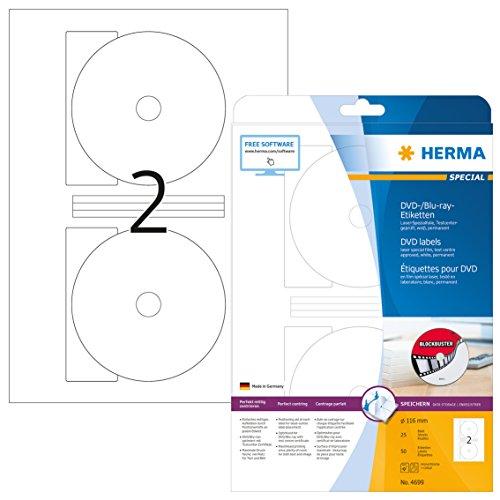 HERMA 4699 CD-/DVD-Etiketten inkl. Positionierhilfe DIN A4 (Ø 116 mm MAXI, 25 Blatt, Folie, matt) selbstklebend, bedruckbar, permanent haftende DVD-Aufkleber, 50 Klebeetiketten, weiß