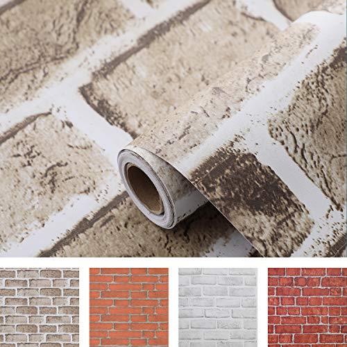 Coavas Brick-Wallpaper 17.7x196.6 Inch Decorative Self Adhesive Easy to Stick and Peel Faux Brick Printed Stick Paper Brown