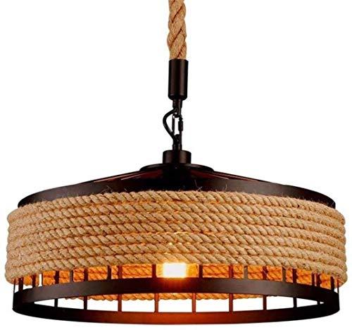 Luces Pendientes industriales, Islas de Cocina Cosecha Colgando Accesorio Ligero de la lámpara de Techo, Metal y Cuerda del cáñamo enjaulado Araña Lámpara Colgante