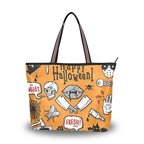 Bolsos de hombro Halloween Skull Bat Zombie Bolsos para madres Mujeres Niñas Señoras Estudiante Ligero Correa Monedero Bolsa de asas de compras