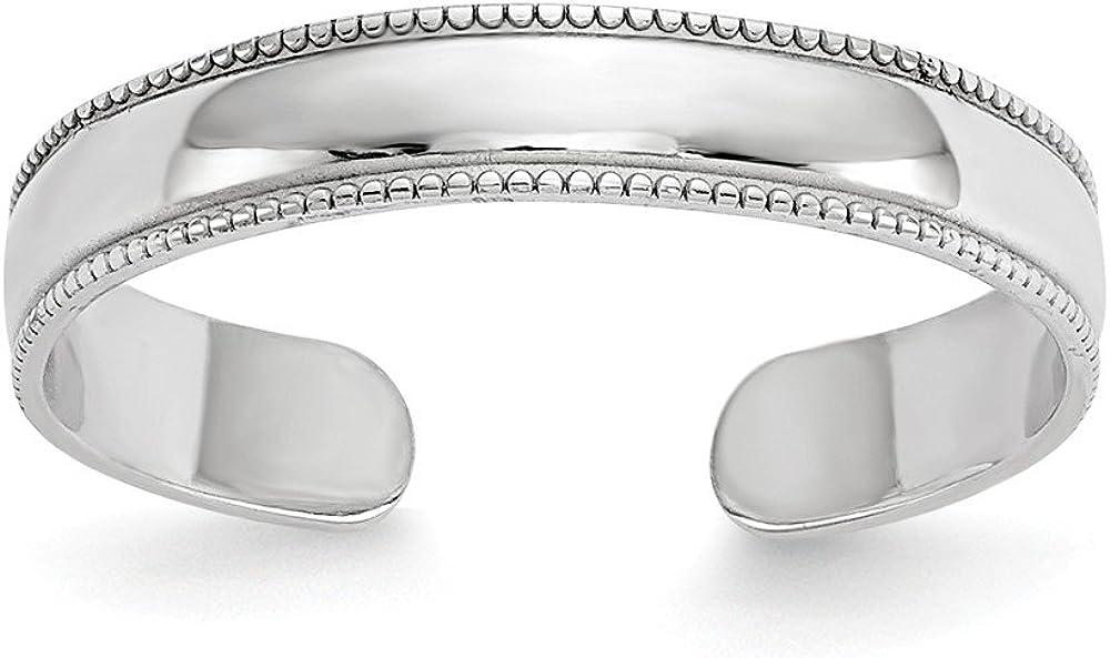 14K White Gold Polished Milgrain Design Toe Ring