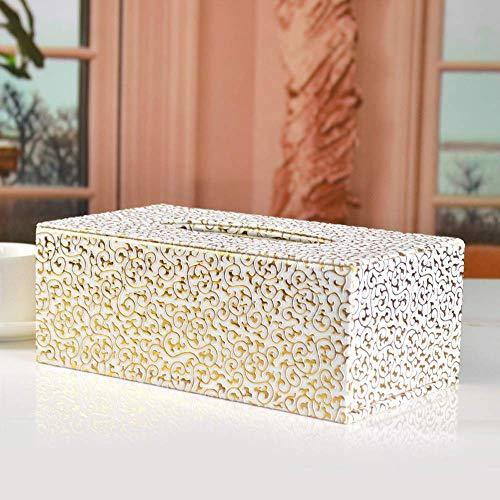 LXGANG - Caja de pañuelos rectangular para el hogar, papel higiénico y caja dispensadora, de cuero, para decoración del hogar (color: beige, tamaño: 9,5 x 25,5 x 13,5 cm)