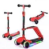 Musik Roller Kinder Kick Scooter klappRoller Dreirad Roller,Chinese red