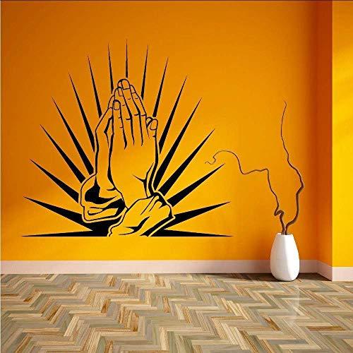 Gebetshände Wandaufkleber Wasserdicht Home Interior DekorLiving Room Abnehmbare Vinyl Wandtattoos beten 91X58Cm