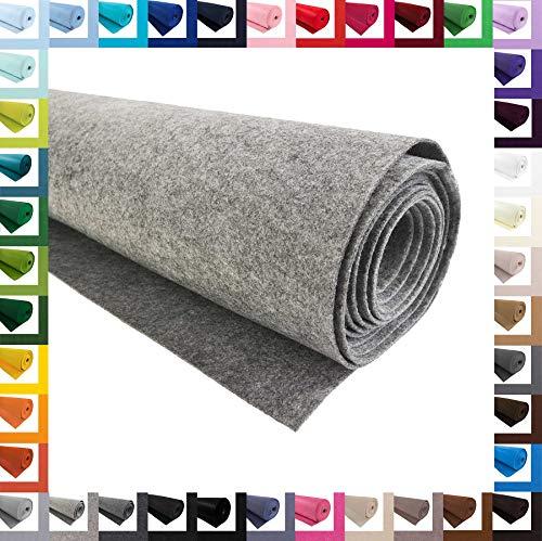 Bastelfilz 1m Meterware Filz 90cm x 3mm Dekofilz Taschenfilz Filzstoff 39 Farben, Farbe:grau meliert