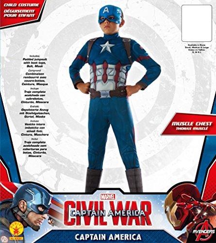 Rubie 's disfraz Capitán América: Guerra Civil, disfraz de lujo de Capitán América., M, Multi Color