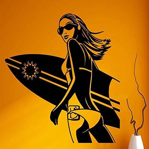 Extreme surfen sport Vinyl muur Sticker Bikini meisje surfen vakantie strand zee familie slaapkamer decoratie muurschildering 42x42cm