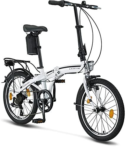 Licorne Bike Conseres, bicicletta pieghevole da 20 pollici – Bicicletta pieghevole per uomo e donna – Bicicletta pieghevole da 20 pollici con cambio a 6 marce – pieghevole City Bike, copertura
