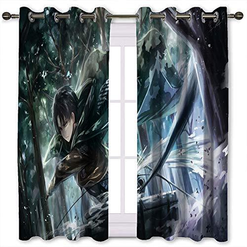 SSKJTC Thermo-isolierte Ösenvorhänge Anime Attack on Titan Rival Ackerman Vorhänge für Küchenfenster B 183 x L 160 cm