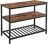 VASAGLE Kücheninsel mit großer Arbeitsplatte, Esstisch, Küchenregal mit 3 Regalablagen, stabiles Metallgestell, 120 x 60 x 90 cm, einfacher Aufbau, Industrie-Design, vintagebraun-schwarz KKI01BX