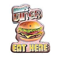【USA アメリカン デザイン】DINER ハンバーガー カフェ ガレージ サインボード ビンテージ バイカー インテリア 看板 LED ランプ付; AVLE-020