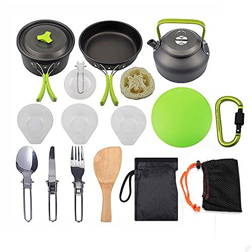 Kit de Utensilios Cocina Camping,16Pcs Juego de Utensilios Cocina Camping con Ollas y Sartén de Aluminio Hervidor Cubiertos Plegable para 2-3 Personas,Kit de Cocina para Senderismo Picnic Viaje