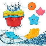 Baby Badespielzeug, 9 Stück Badewannenspielzeug Kinder, Spielzeug Badewanne mit 3 Arten von Wassersprüh-Meerestieren, 2 Badebooten, 4 stapelbaren Bechern - Ideal für Baby Badewanne Geschenk