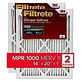 Filtrete 14x20x1, AC Furnace Air Filter, MPR 1000, Micro Allergen Defense, 2-Pack (exact dimensions 13.781 x 19.781 x 0.84)