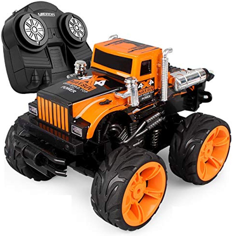 DishyKooker RC Auto Spielzeug für Jungen Kind Geschenk mit Funkfernbedienung Speed Racing Stunt Auto Geschenk Elektroauto Gelb