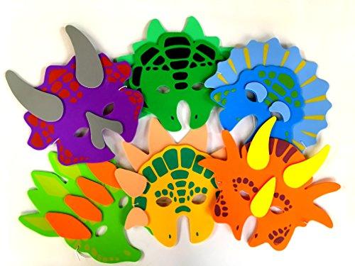 1 Dozen Foam Dinosaur Masks, Party Favors For Children, by Playscene (12 Dinosaur Masks)