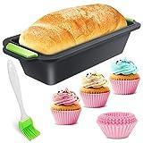 LOVEXIU Stampi Plumcake per Teglie in Silicone,Rettangolare Stampo per Toast,Stampo Plumcake Silicone,Stampi Plumcake per Pane in Silicone con Pennello+ Muffin Cup per Cucina Fai da Te Torta
