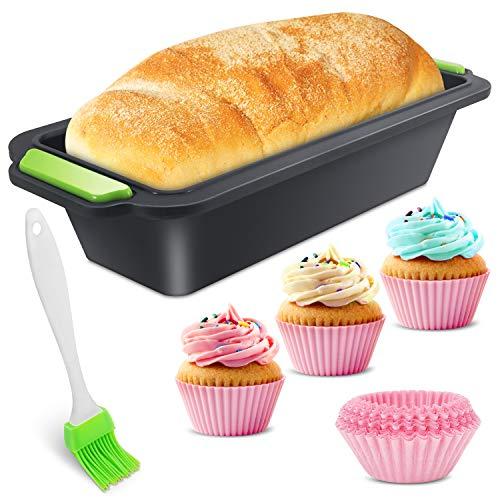 Kastenform aus Silikon,Kastenform Brotbackform Set,Antihaft Kastenform Silikon,Große Brotbackform Kastenform,Silikon Brotbackformen & Pinsel Muffin Cupcakes Förmchen für Backen Toast Brot Kuchen