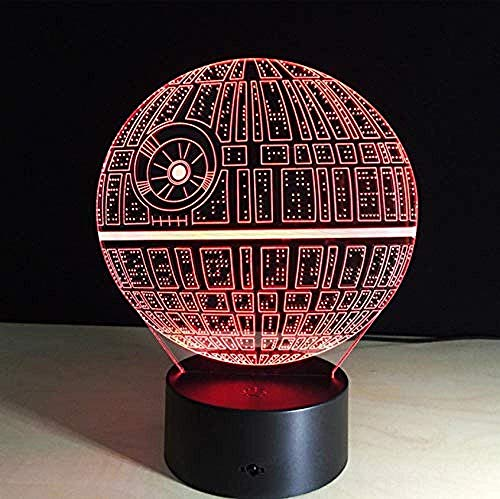 Family 3D Death Star Night Light Optical Illusion Light Light Ds Platform 7 Cambio de color Touch Switch Table Lamp