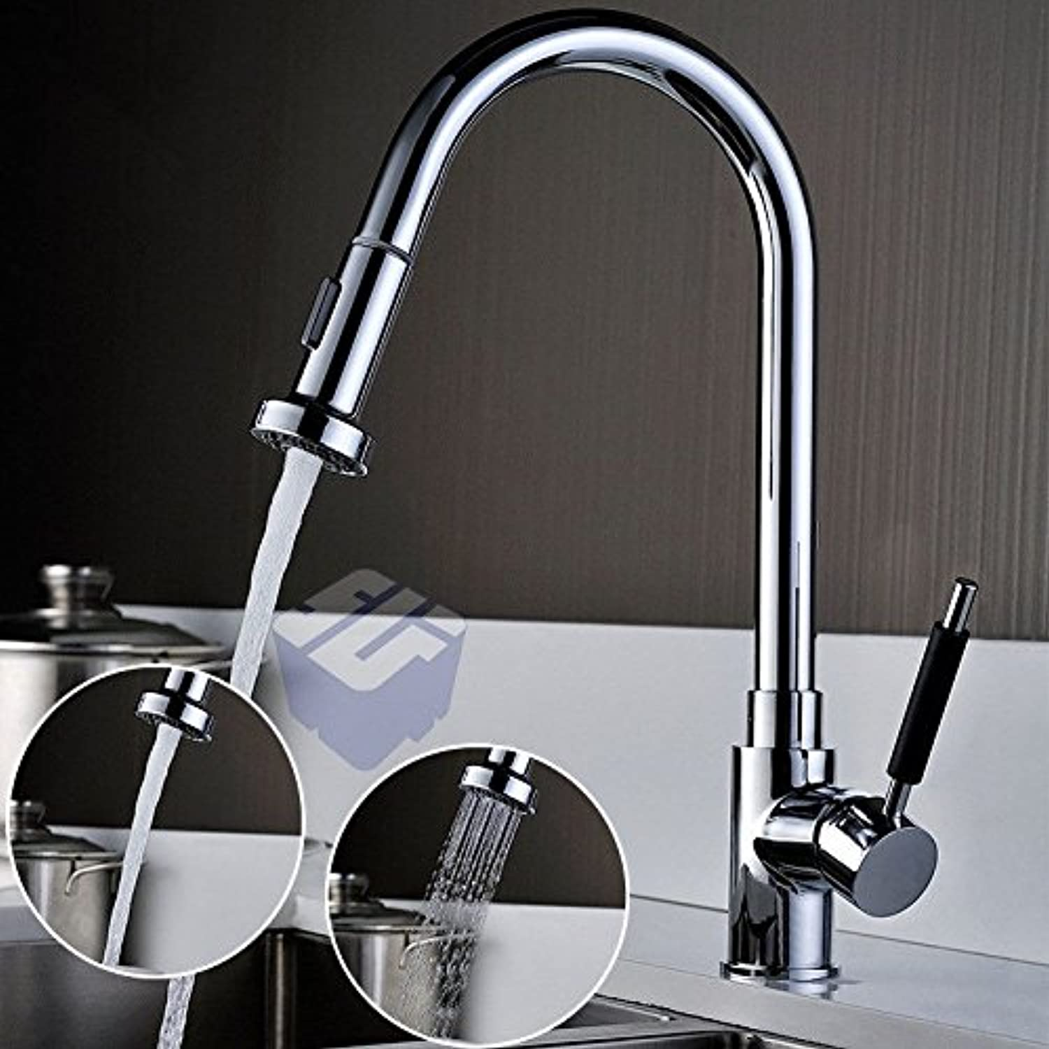 AQMMi Bathroom Sink Faucet Basin Mixer Tap Brass Pull-Out Hot and Cold Water Basin Sink Tap Bathroom Bar Faucet