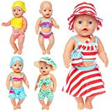 Ecore Fun 5 Sets 14-16 Inch Baby Doll Clothes Swimsuits for 43cm New Born Baby Dolls, 15 Inch Bitty Baby Doll, American 18 Inch Girl Doll
