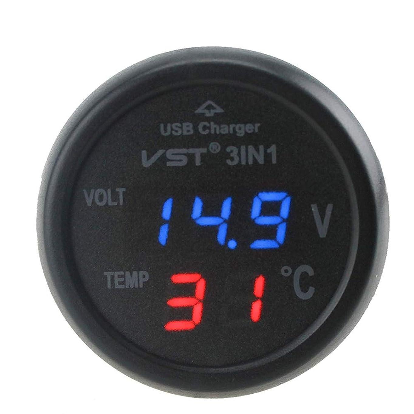 泣き叫ぶミサイル名前Lindexs 3イン1 車 12V 24V グリーン LED USB充電器 デジタル電圧計 温度計