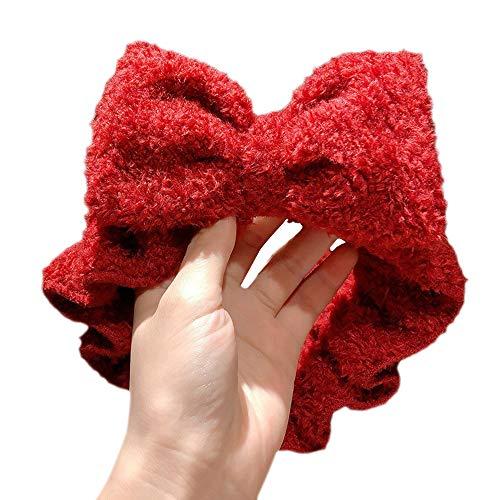 Hourongw Diadema Accesorios de Moda Cabeza Envoltura Pequeñas Cuernos Gris Lazo Nudo Rojo Diadema de las Mujeres de Moda