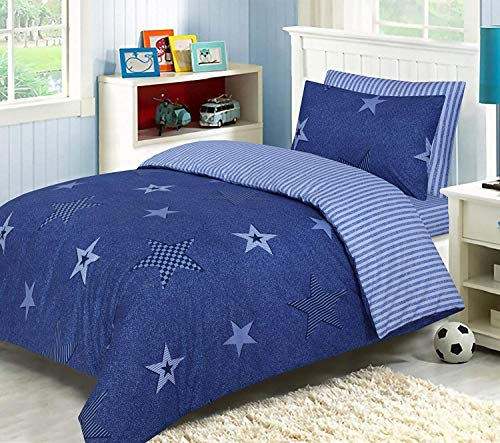 LJ Lujoso juego de funda de edredón para niños, 100% algodón, reversible, juego de ropa de cama con sábana bajera a juego (azul estrella, tamaño individual)