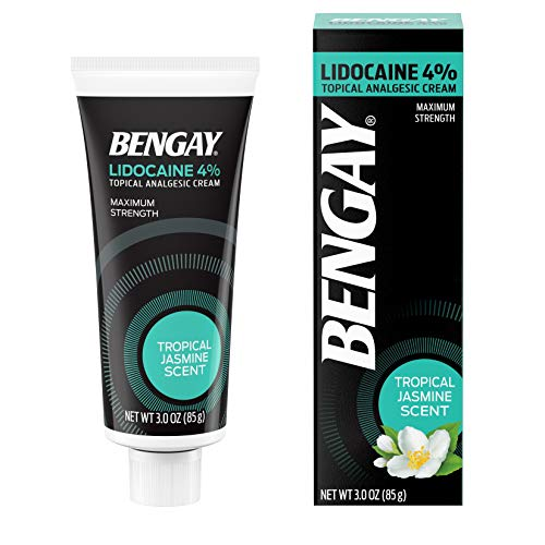 Bengay Pain Relieving Lidocaine Cream Topical Analgesic, Tropical Jasmine Scent, 3 oz