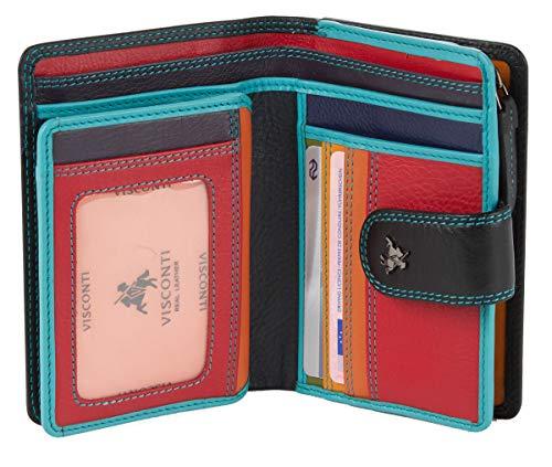 Visconti ® Leder Geldbeutel Damen RFID Schutz Geldbörse Damen Portemonnaie Bifold Mehrfarbig Portmonee in Geschenk-Box ''RAINBOW'' (RB51 Black Multi)