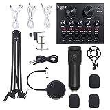 Multifuncional Vivo Suspensión Tarjeta de Sonido del micrófono Kit + Transmisión de grabación Micrófono Condensador Set y Alta compatibilidad (Color : Black)