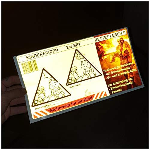 Kinderfinder 2er Set Aufkleber Brandschutz Leitsystem für Feuerwehr (Reflektierende Folie)