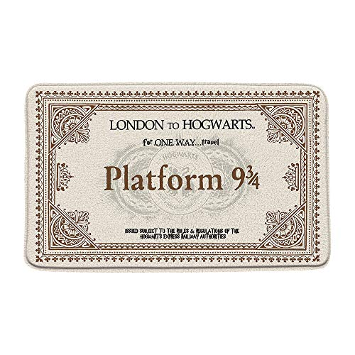 Platform 9 and 3/4 of King's Cross Station Bath Mat Secret Passage Magic School Ticket Microfiber Memory Foam Bathroom Rugs Decor Mat Non Slip Backing20X31Inch
