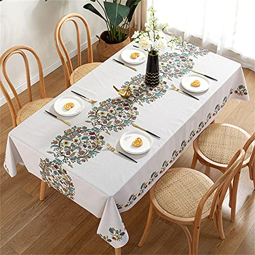 Mantel De Pvc Rectangular Mantel Antiincrustante Cocina Mantel Impermeable Restaurante Mantel Cuadrado A Prueba De Aceite Mesa De Centro Mesa-Jardín Al Aire Libre-Picnic Fiesta De Navidad 137x180cm