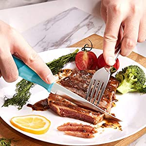 Emojoy Knife Set, 15-Piece Kitchen Knife Set with Wooden Block, Blue Handle for Chef Knife Set, German Stainless Steel Perfect Cutlery Set