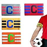 Elástico Fútbol Brazalete, 4 Piezas Brazalete Fútbol Ajustable, Brazalete Capitán Banda, Brazalete Elástico Capitanes, Brazalete Fútbol C, Nylon, para Adultos, Adolescentes, Niños