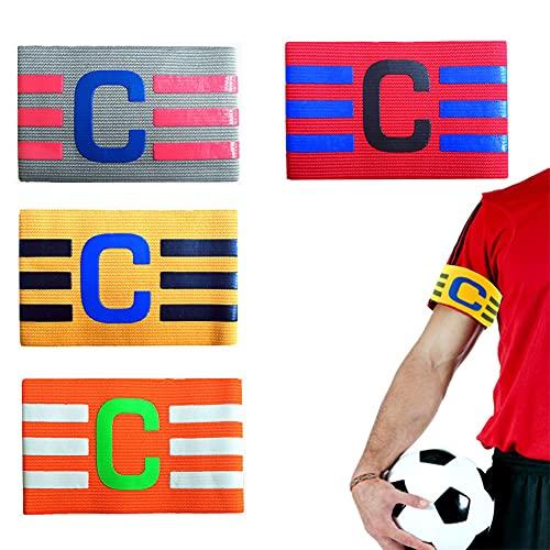 Jsleid Fasce Capitano, 4 Pezzi Sport Capitano Fascia, Fasce Capitano Calcio, Fascia Capitano Elastica, Fascia Capitano Regolabile, Nylon, Adatto per Adulti, Adolescenti, Bambini