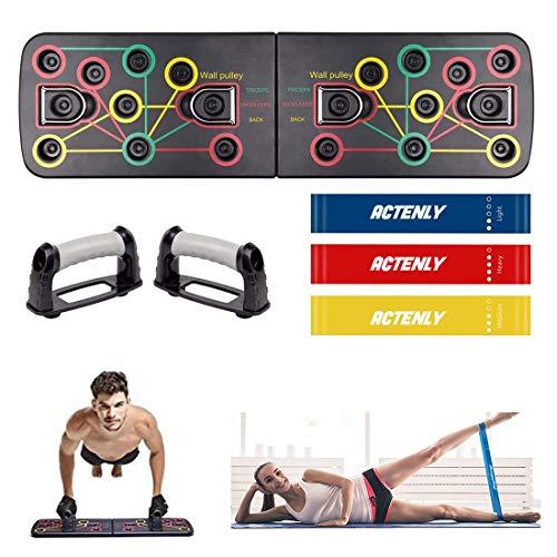 ACTENLY 13 in 1 Liegestütze Brett, Multifunktionale Fitness Geräte Push Up Board, Gymgrizzly Home Muscle Builder Liegestützgriffe für Männer und Frauen (mit Widerstandsbänder)