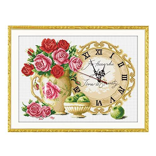 CCJIN Reloj de Punto de Cruz,Lienzo Pared decoración,Punto de Cruz de Bordado ,Manualidades,Kit de Punto de Cruz contado para Reloj,A,59 * 45 cm