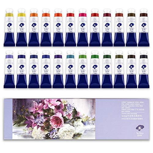 Paul Rubens Watercolor Tubes, 8ml Tubes 24 Colors Artist Grade Watercolor Paints Set, Flower Color Matching, Perfect for Hobbyist and Artist
