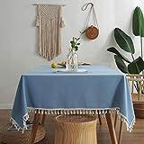XQSSB Mantel para de Cocina Salón Rectangular Cotton Linen Lightweight Impermeable Diseño de Comedor Decoración del Hogar Blue a 90 × 90cm