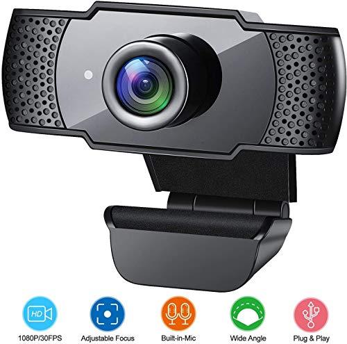 ANVASK Webcam mit Mikrofon, 1080P Full HD USB Webcam für PC Laptop Webkamera für Videoanrufe, Studieren, Konferenzen, Aufzeichnen, Für Skype, FaceTime, Hangouts, etc, Windows/Mac OS/Android, Schwarz