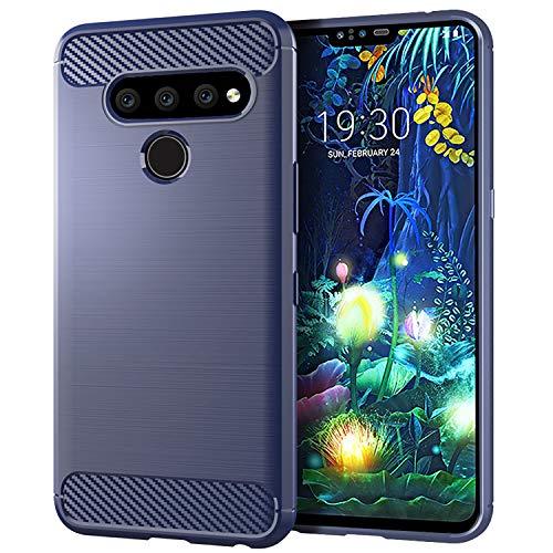DQG Anti-Fall hülle für LG V50 ThinQ Hülle, Weiche Handytasche Kohlefaser TPU Handyhülle Silikon Tasche Schale rutschfest Hülle Cover für LG V50 ThinQ (6.4