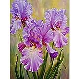 UMP UPMALL Peinture diamant 5D à faire soi-même avec diamants pour décoration d'intérieur Motif fleurs violettes 30 x 39,9 cm