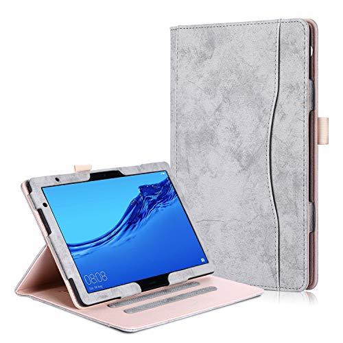 Huawei MediaPad T5 10 / M5 Lite 10 Case - Premium PU Leather Folio Stand Cover Case for Huawei MediaPad T5 10 / M5 Lite 10-Inch Tablet-PC 2018 Release, Gray