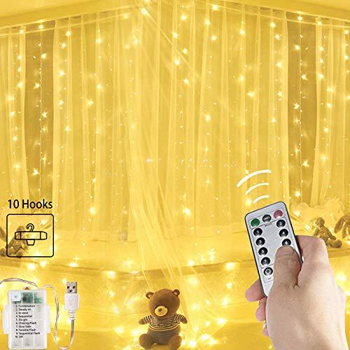 Guirlande lumineuse de 3m× 3m avec 300LED fenêtre de Noël en forme stalactite, fil cuivre, prise USB crochets et...