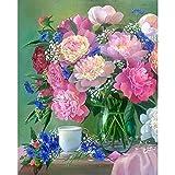ZXDA Pintura de Flores por número Pinturas pintadas a Mano de Flores Dibujo sobre Lienzo Imágenes de Regalo artísticas por Kits de números Inicio A15 60x75cm