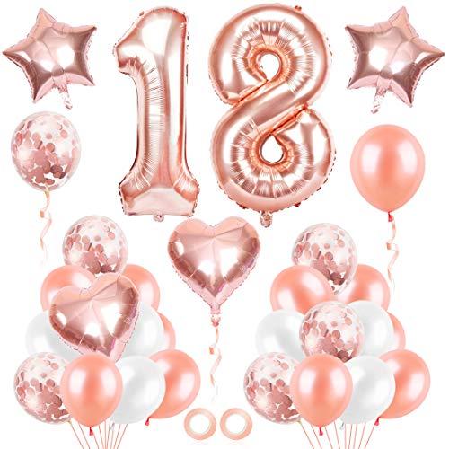 Bluelves Luftballon 18. Geburtstag Rosegold, Geburtstagsdeko 18 Jahr Mädchen, Ballon 18 Geburtstag, Riesen Folienballon 18 Rose Gold, Zahlenballon 18 Deko zum Geburtstag