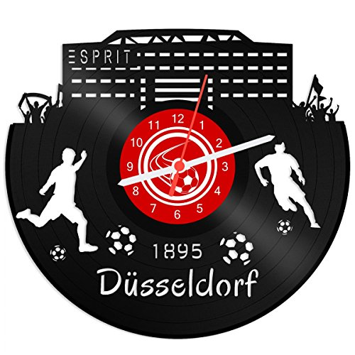 GRAVURZEILE Schallplattenuhr Düsseldorf - 100% Vereinsliebe - Upcycling Design Wanduhr aus Vinyl Made in Germany