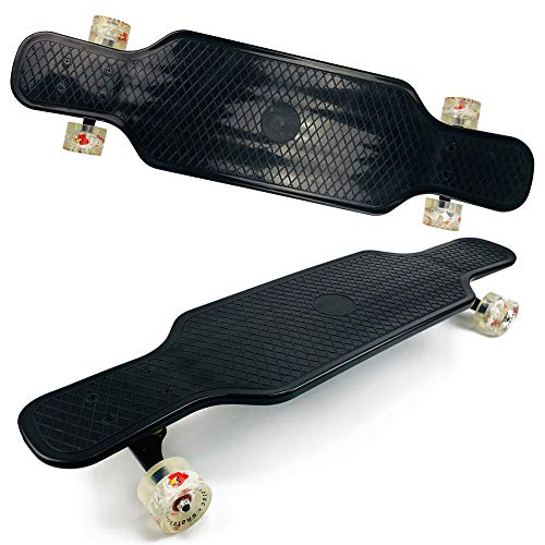 PIG-GIRL Complete Skateboard31 Inch Longboard Skateboard,Freestyle Longboard Skateboard Cruiser(Black/White),Black